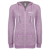ENZA Ladies Hot Violet Marled Full Zip Hoodie-Faith Eagles