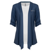 Ladies Navy Drape Front Cardigan-Faith Eagles