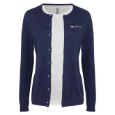 Ladies Navy Cardigan-Faith Eagles