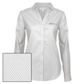 Ladies Red House Diamond Dobby White Long Sleeve Shirt-Faith Eagles