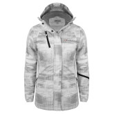 Ladies White Brushstroke Print Insulated Jacket-Faith Eagles