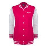 Ladies Pink Raspberry/White Fleece Letterman Jacket-Faith Eagles