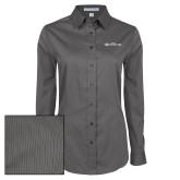 Ladies Grey Tonal Pattern Long Sleeve Shirt-Faith Eagles