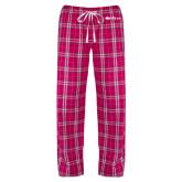 Ladies Dark Fuchsia/White Flannel Pajama Pant-Faith Eagles