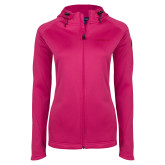 Ladies Tech Fleece Full Zip Hot Pink Hooded Jacket-Faith Eagles
