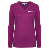 Ladies Deep Berry V Neck Sweater-Faith Eagles