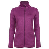 Dark Pink Heather Ladies Fleece Jacket-Faith Eagles
