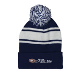 Navy/White Two Tone Knit Pom Beanie with Cuff-Faith Eagles