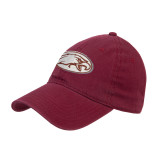 Maroon Twill Unstructured Low Profile Hat-Eagle
