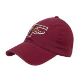 Maroon Twill Unstructured Low Profile Hat-F