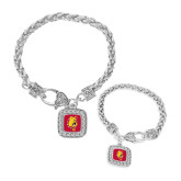 Silver Braided Rope Bracelet With Crystal Studded Square Pendant-Bulldog Head