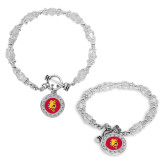 Crystal Jewel Toggle Bracelet with Round Pendant-Bulldog Head