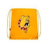 Gold Drawstring Backpack-Bulldog Head