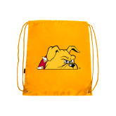 Gold Drawstring Backpack-Bulldog Head Peeking