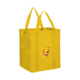 Non Woven Gold Grocery Tote-Bulldog Head