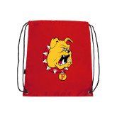 Red Drawstring Backpack-Bulldog Head