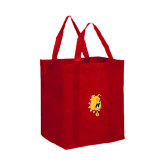 Non Woven Red Grocery Tote-Bulldog Head