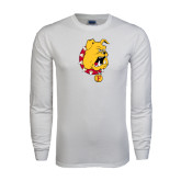 White Long Sleeve T Shirt-Bulldog Head