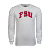 White Long Sleeve T Shirt-Arched FSU