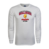 White Long Sleeve T Shirt-Bulldogs Est. 1884 Arched