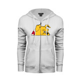 ENZA Ladies White Fleece Full Zip Hoodie-Bulldog Head Peeking