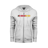 ENZA Ladies White Fleece Full Zip Hoodie-#FerrisStrong