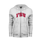 ENZA Ladies White Fleece Full Zip Hoodie-Arched FSU