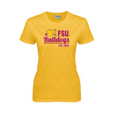 Ladies Gold T Shirt-Bulldogs Est. 1884 Stacked