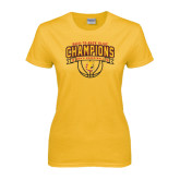 Ladies Gold T Shirt-Back-to-Back GLIAC Champions Mens Basketball 15-16