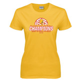 Ladies Gold T Shirt-Back-to-Back-to-Back GLIAC Champions Volleyball
