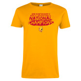 Ladies Gold T Shirt-2018 NCAA Mens Basketball National Champions - Brush