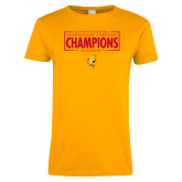 Ladies Gold T Shirt-2018 NCAA Mens Basketball National Champions - Box