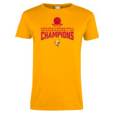 Ladies Gold T Shirt-2018 NCAA Mens Basketball National Champions - Stacked