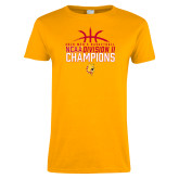 Ladies Gold T Shirt-2018 NCAA Mens Basketball National Champions - Basketball
