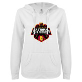 ENZA Ladies White V Notch Raw Edge Fleece Hoodie-2018 NCAA Mens Basketball National Champions