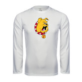 Performance White Longsleeve Shirt-Bulldog Head