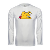 Performance White Longsleeve Shirt-Bulldog Head Peeking