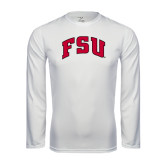 Syntrel Performance White Longsleeve Shirt-Arched FSU