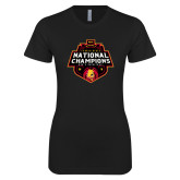Next Level Ladies SoftStyle Junior Fitted Black Tee-2018 NCAA Mens Basketball National Champions