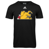 Adidas Climalite Black Ultimate Performance Tee-Bulldog Head Peeking