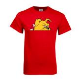 Red T Shirt-Bulldog Head Peeking