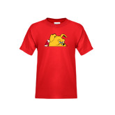 Youth Red T Shirt-Bulldog Head Peeking