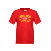 Youth Red T Shirt-Bulldog Football Arched