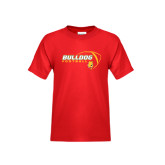 Youth Red T Shirt-Bulldog Football Flat w/ Ball