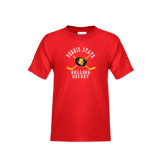 Youth Red T Shirt-Hockey Arched w/ Sticks and Puck