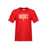 Youth Red T Shirt-Ferris State Hockey Stacked