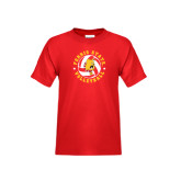 Youth Red T Shirt-Volleyball Ball w/ Stars