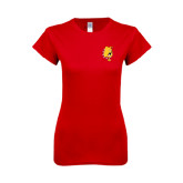 Next Level Ladies SoftStyle Junior Fitted Red Tee-Bulldog Head