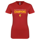 Next Level Ladies SoftStyle Junior Fitted Red Tee-2018 NCAA Mens Basketball National Champions - Box