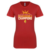 Next Level Ladies SoftStyle Junior Fitted Red Tee-2018 NCAA Mens Basketball National Champions - Basketball